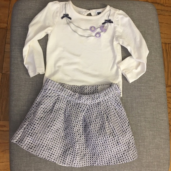 Janie and Jack matching top w/ necklace & skirt